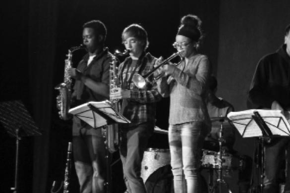 Members of Jazz: (left to right) Eric Wilson, Kyle Van Lant, Tatiana Tate
