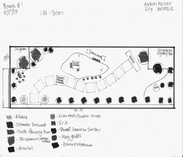 A blueprint of the  Japanese garden by Lily Brossus and Aidan Harper, two international ambassadors.