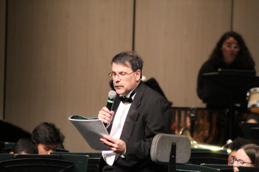 Andy Osman conducting and MCing at Long Beach Poly's Spring Instrumental Music Concert, March 2019.