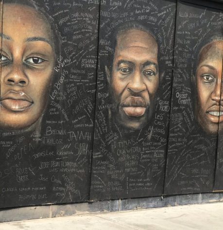 Murals are painted on boards that establishments in Downtown Long Beach put up due to recent protest resulting from the murder of a black man, George Floyd, by police officers. In this painting 3 black people who have died due to police brutality are painted surrounded many victims last words.