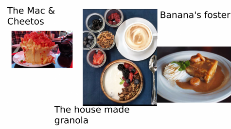 On the  left is the Mac and Cheetos In the middle is the  House made  granola  On the right is the Banana